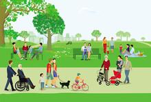 Stadtpark Mit Personen Und Familien In Der Freizeit