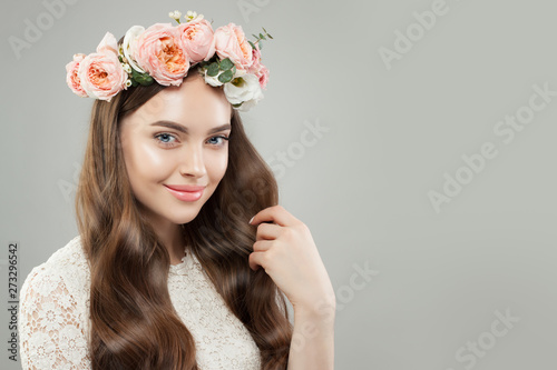 Beautiful Face Pretty Woman With Clear Skin Curly Hair And Flowers On White Banner Background Buy This Stock Photo And Explore Similar Images At Adobe Stock Adobe Stock