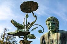 KAMAKURA , JAPAN, Kamakura Daibutsu. Landmark Located At The Kotoku-in Temple In Kamakura, Japan. Monumental Bronze Statue Of Amitabha Buddha. Symbol Of Japan. Big Buddha