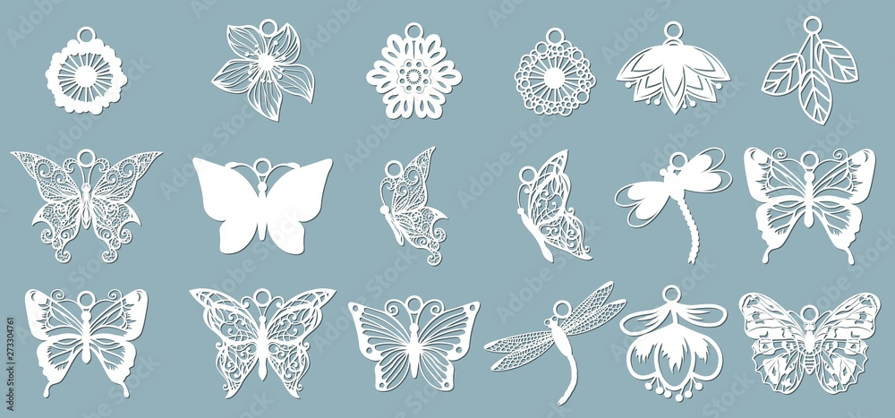 Fototapeta A set of butterfly patterns, dragonflies, in the form of pendants. Template with vector illustration of butterflies. For laser cutting, plotter and silkscreen printing.