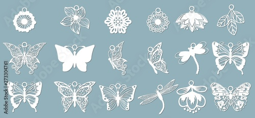 A set of butterfly patterns, dragonflies, in the form of pendants. Template with vector illustration of butterflies. For laser cutting, plotter and silkscreen printing.