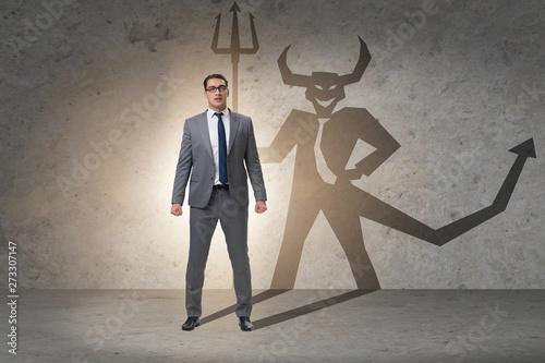 Devil hiding in the businessman - alter ego concept фототапет