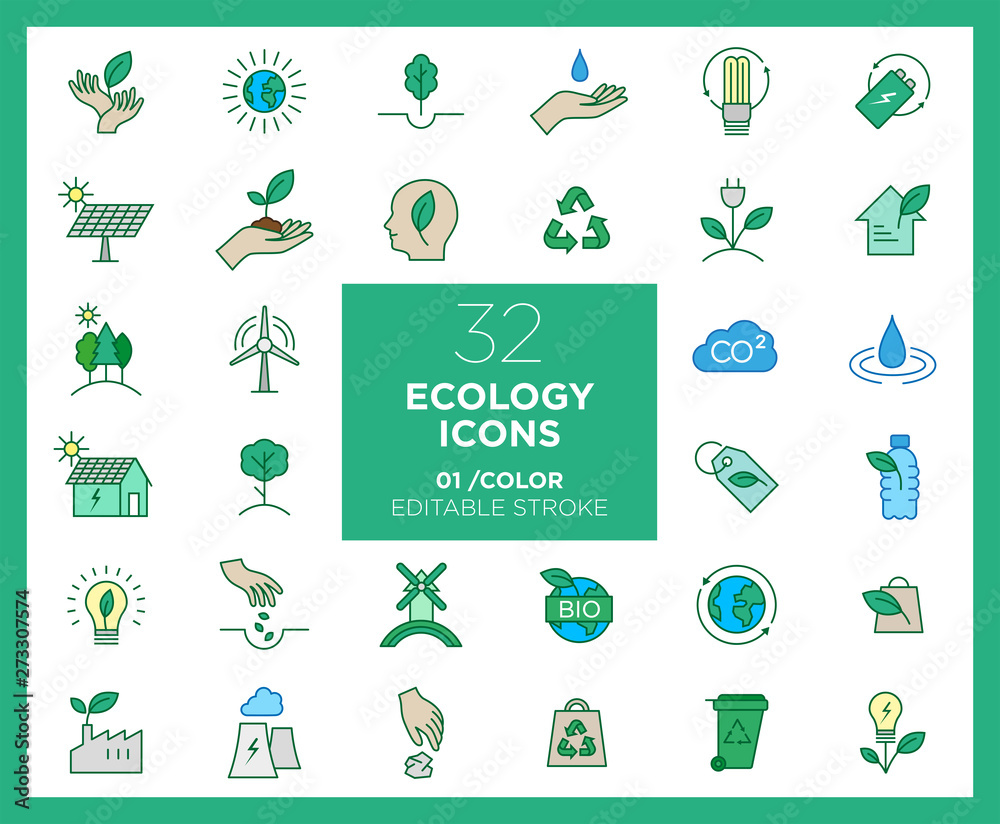 Fototapeta Set of Ecology icons in color