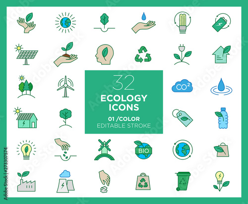 Set of Ecology icons in color Wallpaper Mural