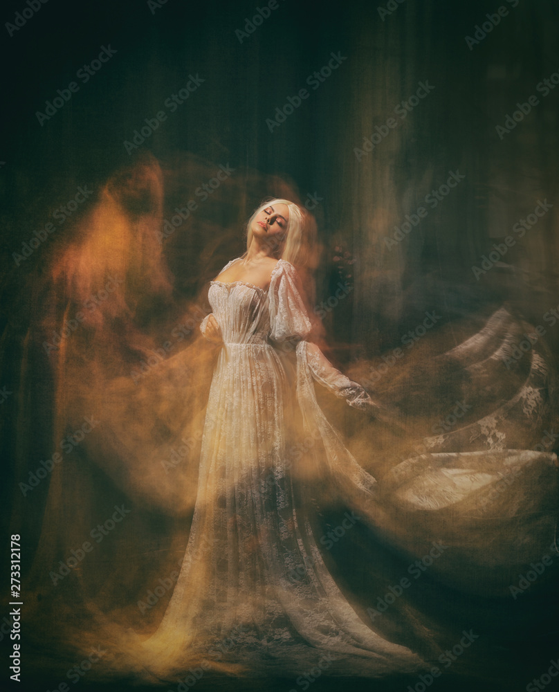 Fototapety, obrazy: Slave, servant of darkness ... Queen albino. A blonde girl, like a ghost, in a white vintage dress, in a black room, a gothic, artistic photograph of a sorceress and a magician. Mary Magdalene
