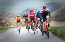 Cyclists Out Racing Along Coun...