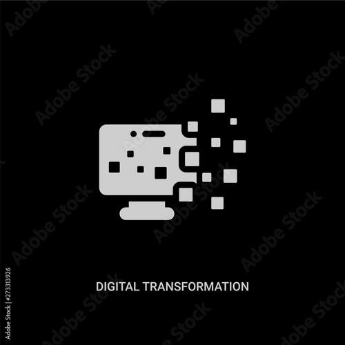 white digital transformation vector icon on black background