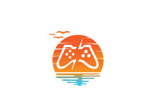 Console Video Games A Controller Gadget For Logo Design Illustration, In A Sunset Shape Sun Icon