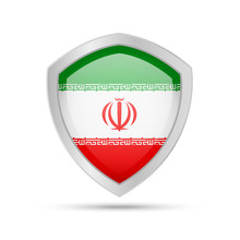 Shield With Iran Flag On White Background.