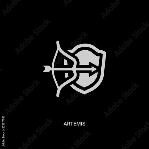 White Artemis Vector Icon On Black Background Modern Flat