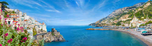 Photo  Panoramic collage of Amalfi in province of Salerno, region of Campania, Italy