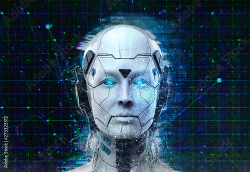 Photo Technology Robot sci-fi woman Cyborg android background -Humanoid Artificial int