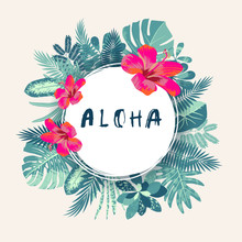 Aloha. Trendy Summer Vintage Tropical Print With A Round Frame