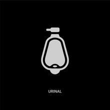 White Urinal Vector Icon On Black Background. Modern Flat Urinal From Hygiene Concept Vector Sign Symbol Can Be Use For Web, Mobile And Logo.