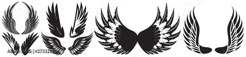 Obraz na plátně Vector monochrome set of different wings for design