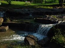 Waterfall At Davis Park In Sapulpa Oklahoma Along Route 66.