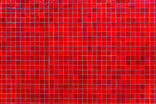 Red Mosaic Tile Wall. Abstract Square Mosaic Tile Red Background