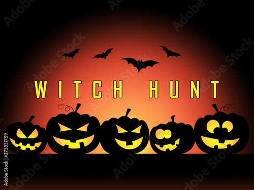 Photo  Witch Hunt Pumpkins Meaning Harassment or Bullying To Threaten Or Persecute 3d I