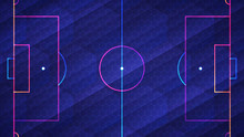 Abstract Glowing Neon Colored Soccer Field Over Blue Background