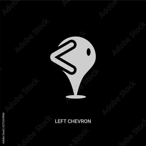 white left chevron vector icon on black background  modern