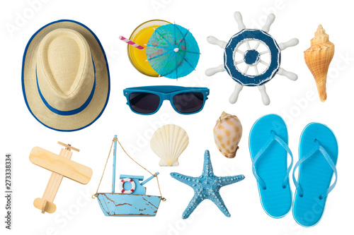Fototapeta Summer holiday vacation concept with beach and travel accessories isolated on white background. obraz
