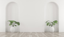 3D Stimulate Of White Room And Arch Wall Design With Green Plant In Vase. Perspective Of Minimal Design.Illustrate.