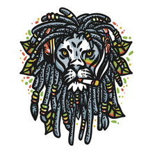 Lion Head Marijuana - Vector
