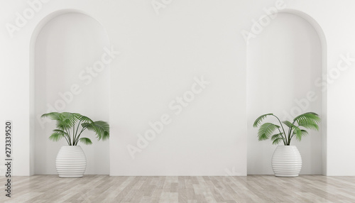 Photo  3D stimulate of white room and arch wall design with green plant in vase