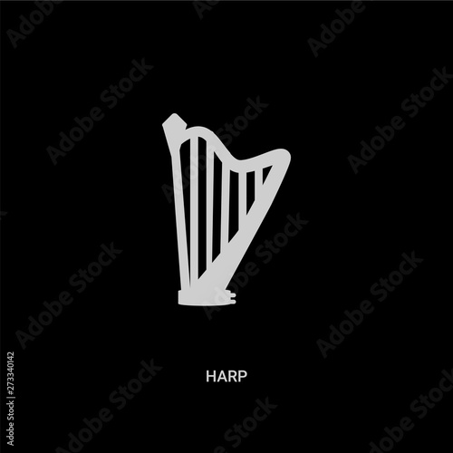 white harp vector icon on black background Fototapet