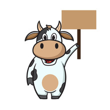Cute Cartoon Cow Holding Text ...