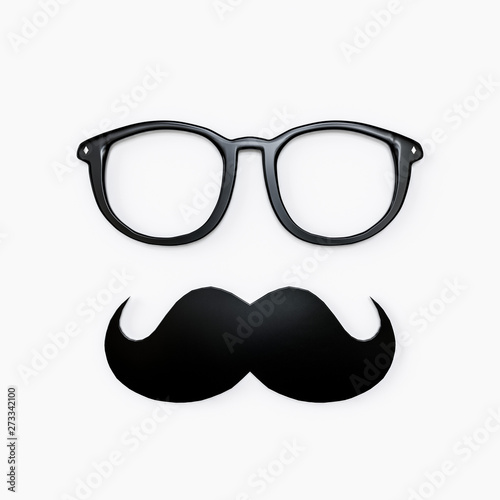 Obraz moustache and eyeglasses isolated on white - fototapety do salonu