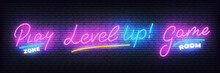 Gamer Neon Set. Play Zone, Game Room, Level Up Glowing Neon Sign.
