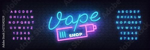 Fotografía Vape shop neon template. Glowing lettering sign Vape shop.