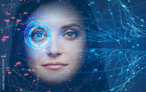 Fototapeta Woman head, face recognition technology and HUD obraz