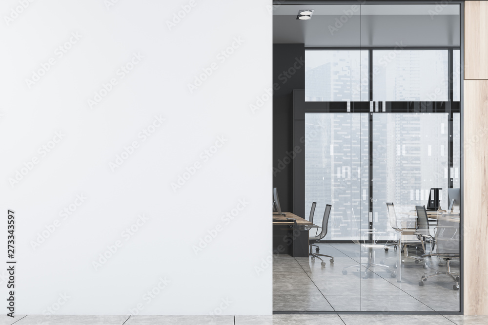 Fototapety, obrazy: Open space office hall with mock up wall