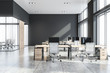Grey open space office interior
