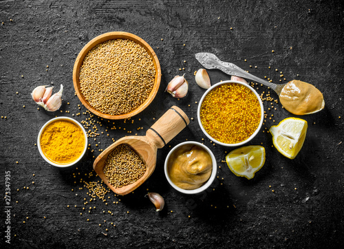 Assortment of different types of mustard with lemon pieces and garlic Fototapeta