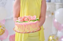 Little Girl With Birthday Cake.
