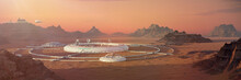Colony On Mars, First Martian City In Desert Landscape On The Red Planet (3d Space Illustration Banner)