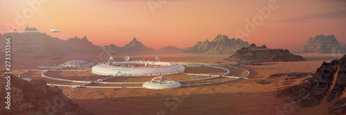 Obraz colony on Mars, first martian city in desert landscape on the red planet (3d space illustration banner) - fototapety do salonu