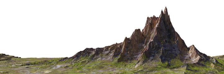 beautiful mountain isolated on white background