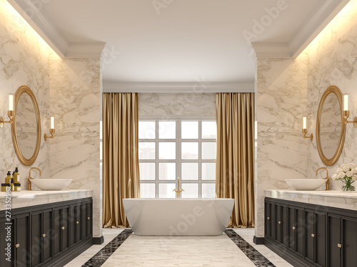 Marvelous Luxurious Bathroom With White Marble Walls And Floors Black Download Free Architecture Designs Lukepmadebymaigaardcom