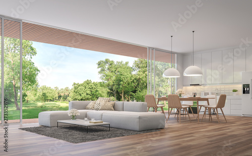 Modern Living Dining Room And Kitchen With Garden View 3d