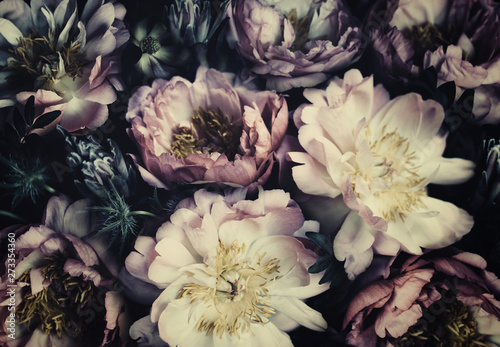 Papiers peints Fleur Vintage bouquet of beautiful peonies on black. Floristic decoration. Floral background. Baroque old fashiones style. Natural flowers pattern wallpaper or greeting card