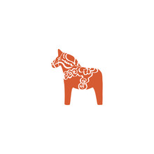 Swedish Vector Traditional Symbol, Dalecarlica Horse, Red Dalarna Or Dala Horse Isolated On White, Decorative Travel Icon Flat, Profile Animal For Greeting Card, Nordic Traditional Christmas Motive