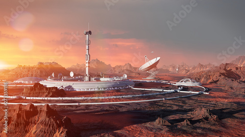 Canvastavla station on Mars surface, first martian colony in desert landscape on the red pla