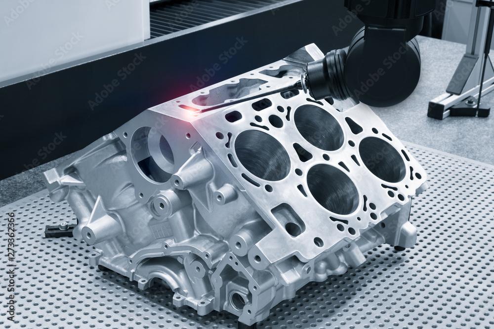 Fototapeta Repair motor block of cylinders, operator inspection dimension aluminium automotive par in industrial factory