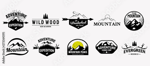 Fotomural Set of vector mountain and outdoor adventures logo designs, vintage style
