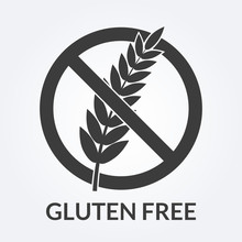 Gluten Free Icon. Sign With Grain Or Wheat. Vector Illustration.