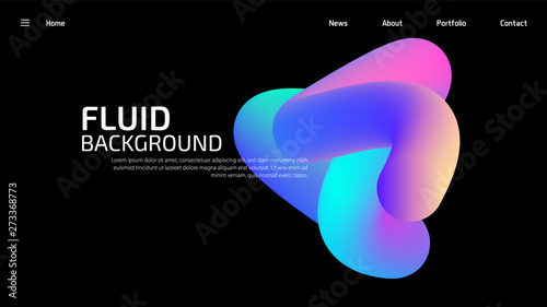 Stampa su Tela Trendy summer 3D flow shapes gradient background, colorful abstract fluid 3d tubes
